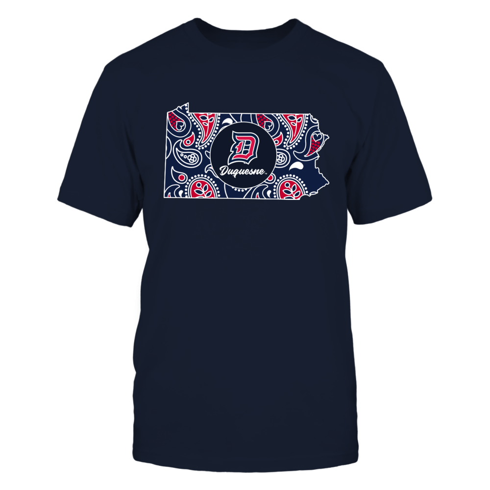 Duquesne Dukes - Paisley Pattern State Map Front picture