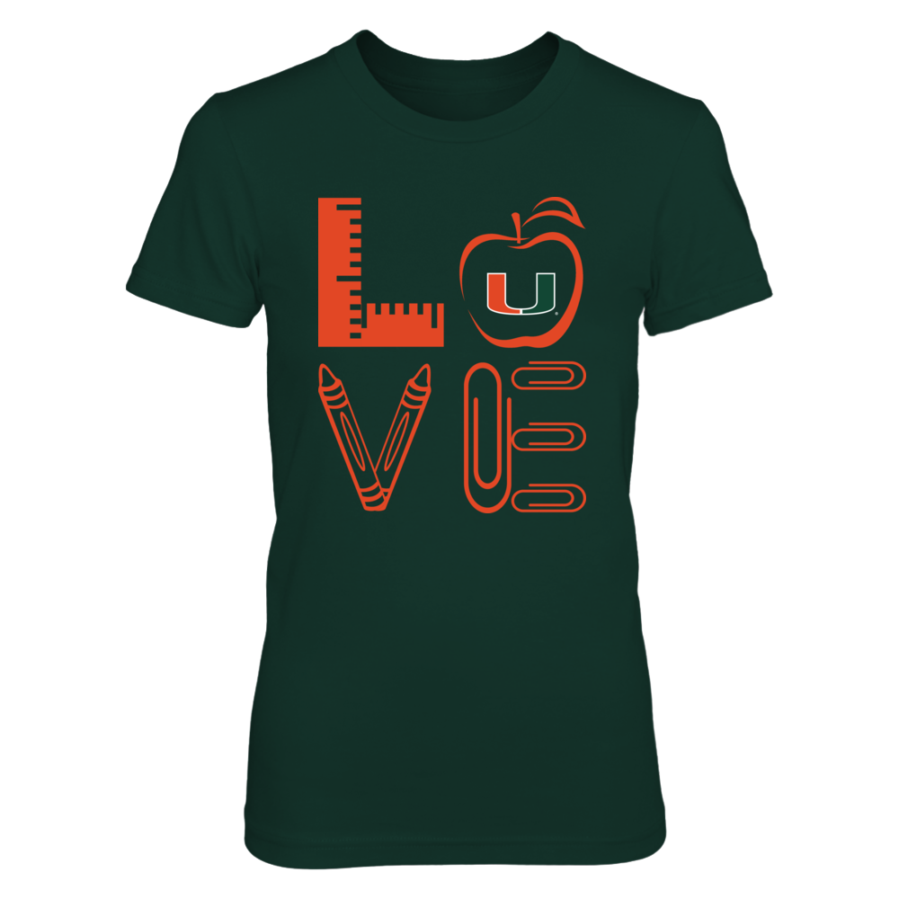 Miami Hurricanes - Stacked Love - Teacher Things - IF-IC13-DS33 Front picture