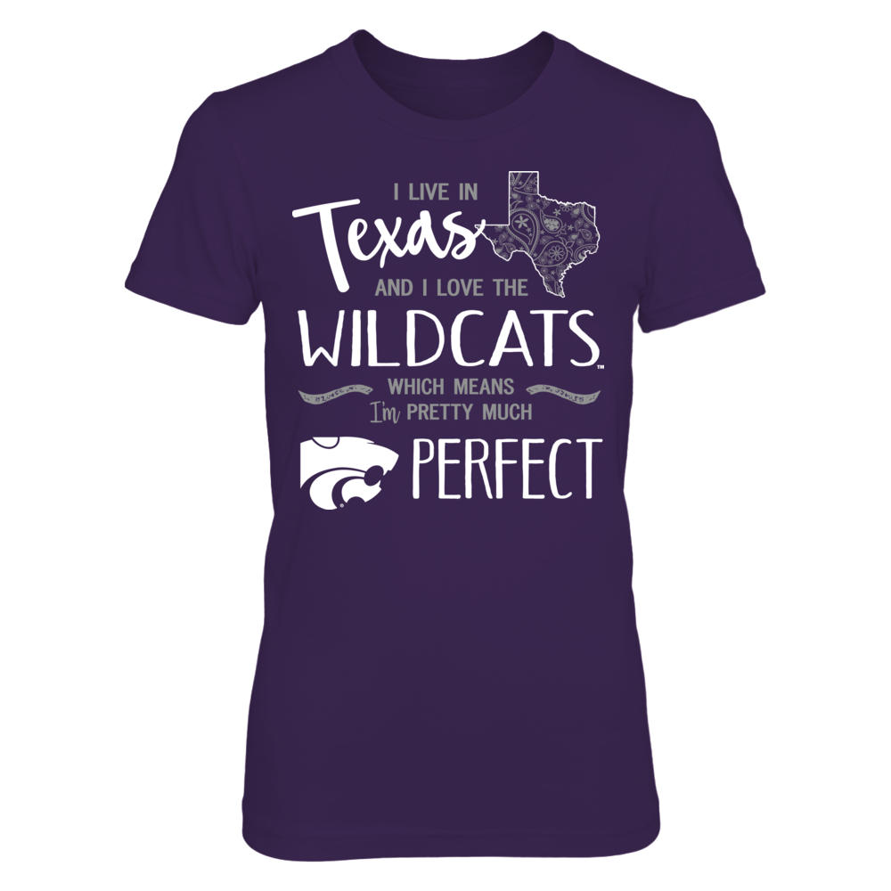 I Live in Texas and Love the Kansas State Wildcats T-Shirt | Tank Front picture