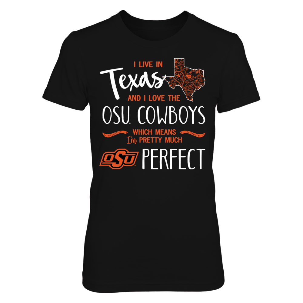 I Live in Texas and Love the Oklahoma State Cowboys T-Shirt | Tank Front picture