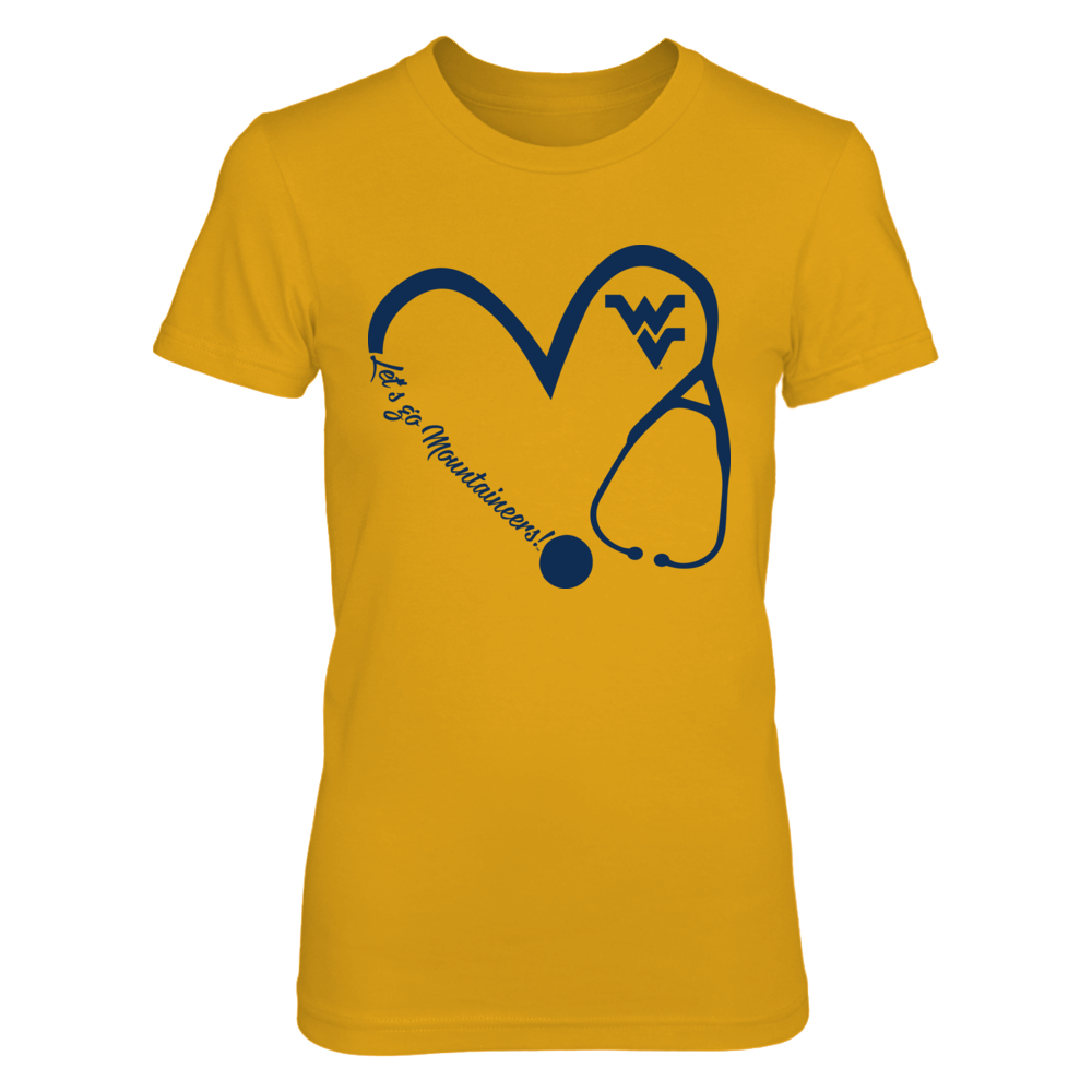 West Virginia Mountaineers - Heart 3-4 - Nurse - Gold Shirt - IF-IC17-DS45 Front picture