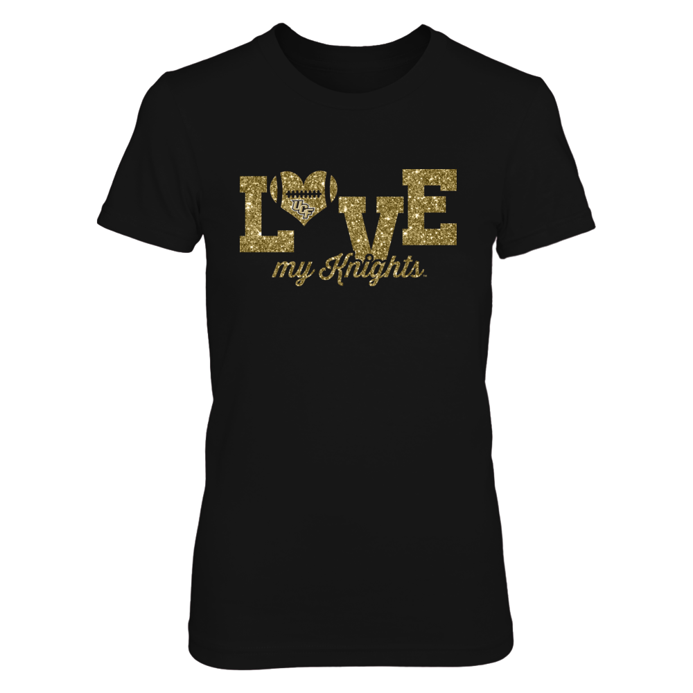UCF Knights - Love My Team - Glitter Heart Football (Not Real Glitter) Front picture