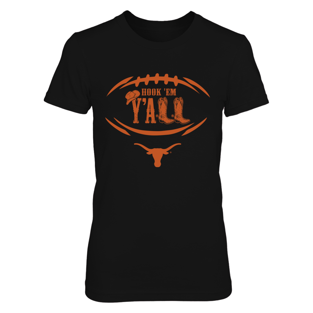 Texas Longhorns - Football Outline - Slogan Y'all Boots Front picture