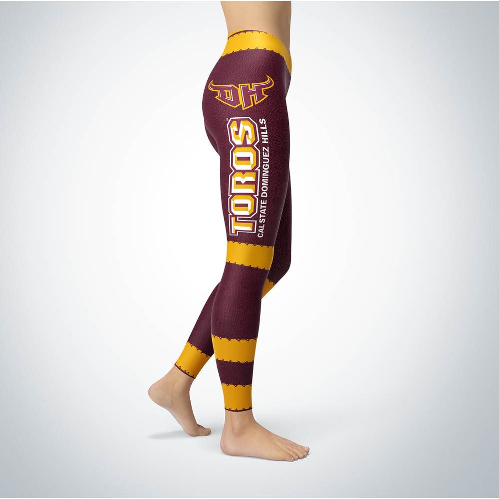 Football Design Cal State Dominguez Hills Toros Leggings Front picture