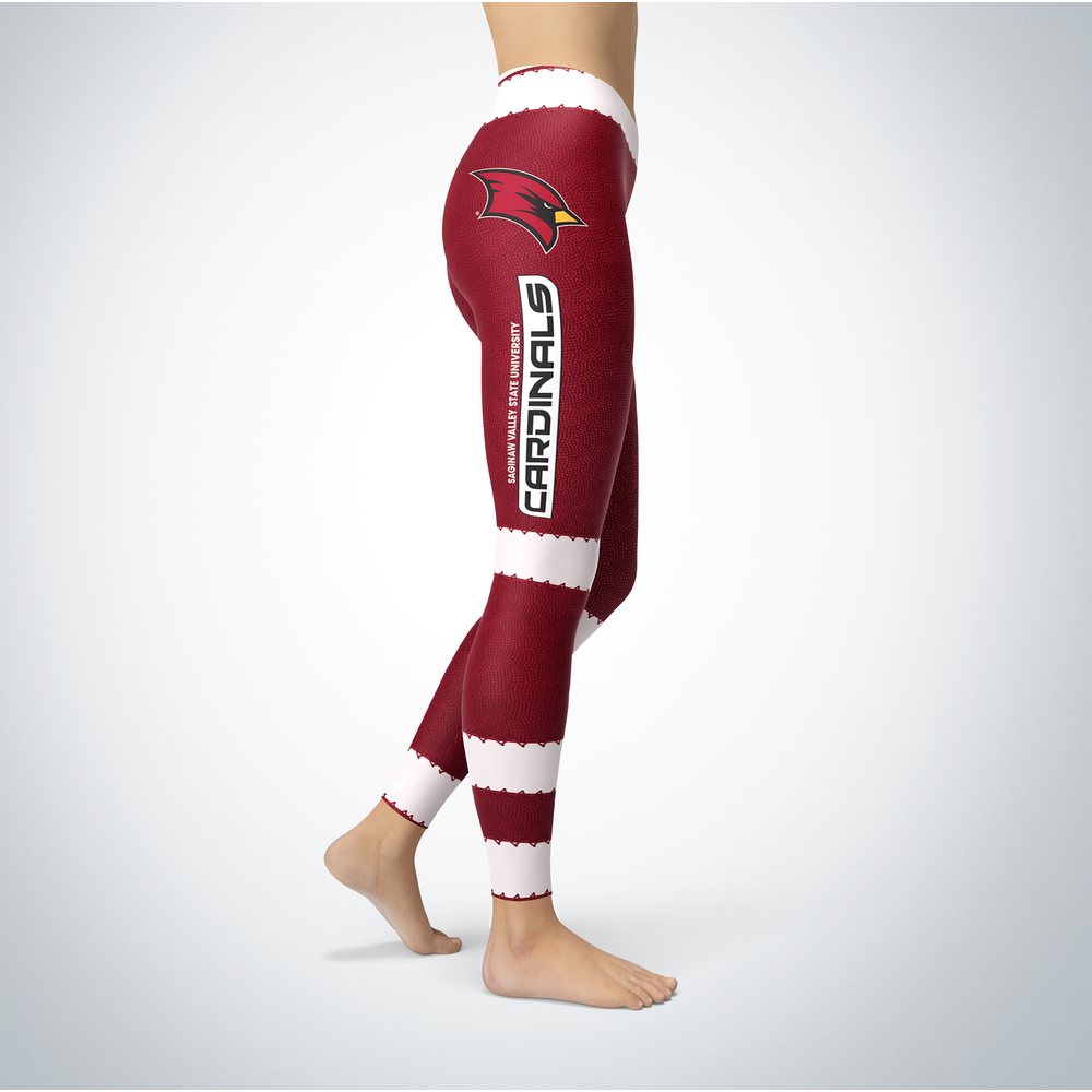 Football Design Saginaw Valley State Cardinals Leggings Front picture
