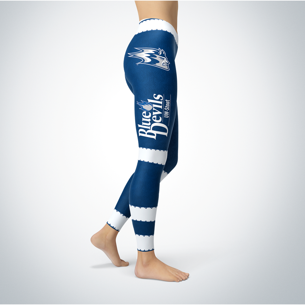 Football Design Wisconsin Stout Blue Devils Leggings Front picture