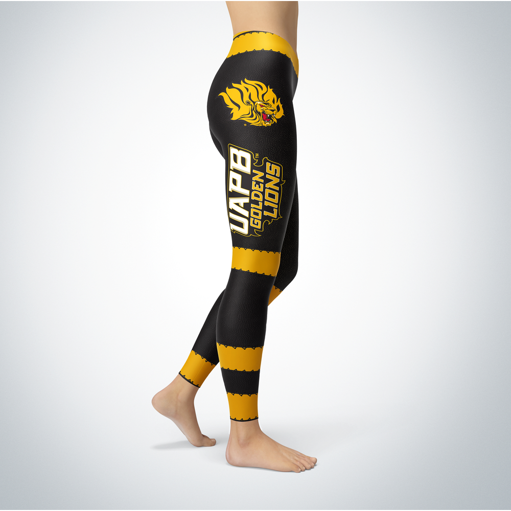 Football Design Arkansas Pine Bluff Golden Lions Leggings Front picture