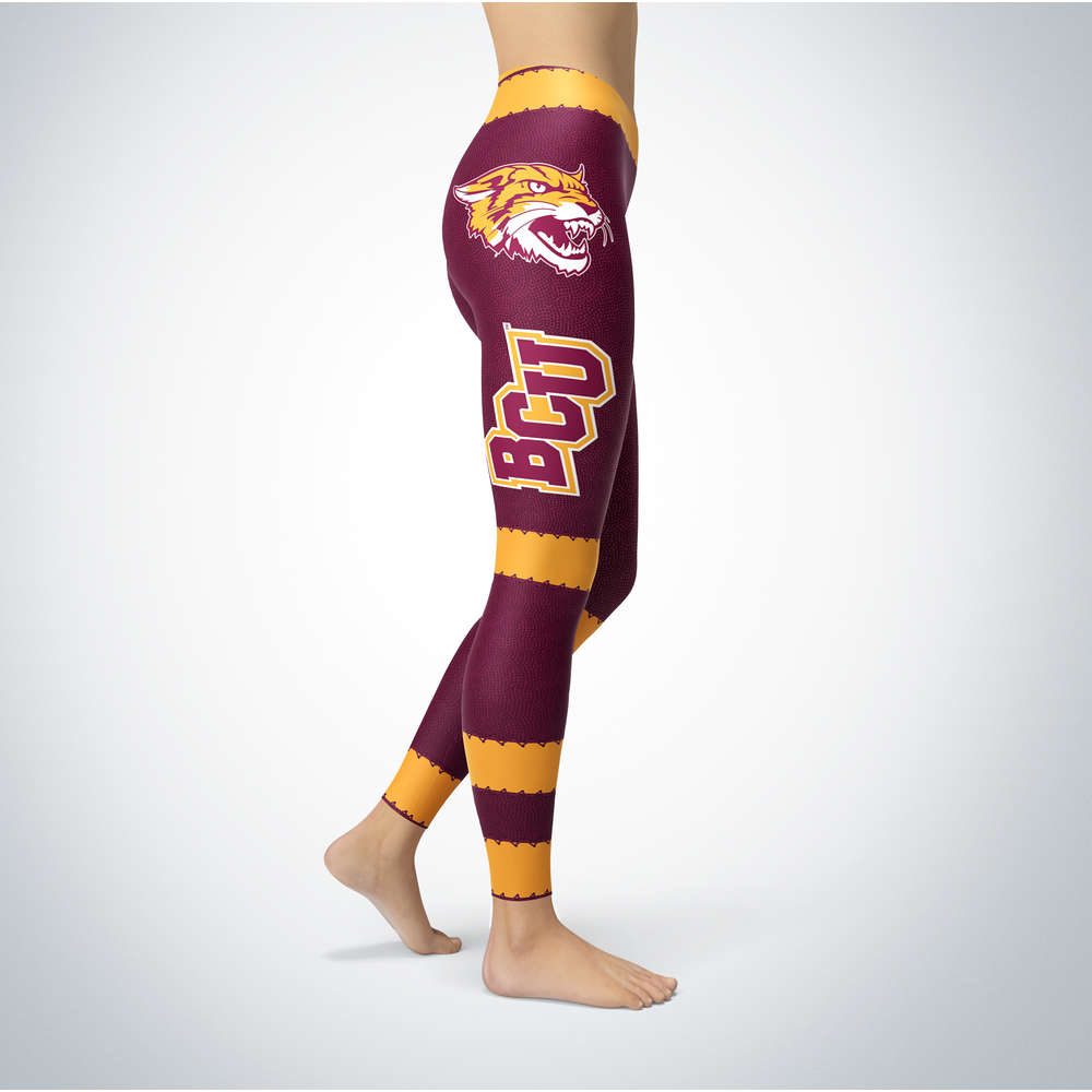 Football Design Bethune-Cookman Wildcats Leggings Front picture