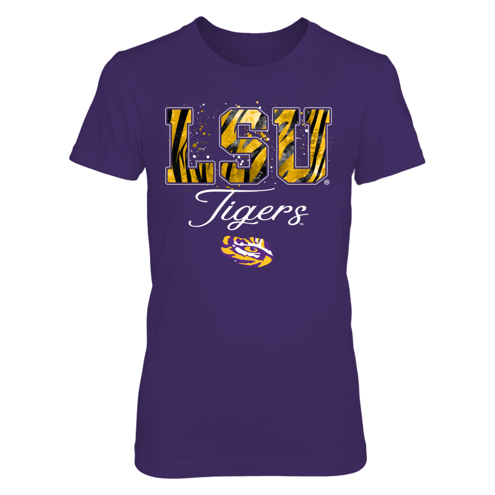 LSU Tigers - Color Drop Tiger Stripe Patterned Letters - IF-IC13-DS75 Front picture