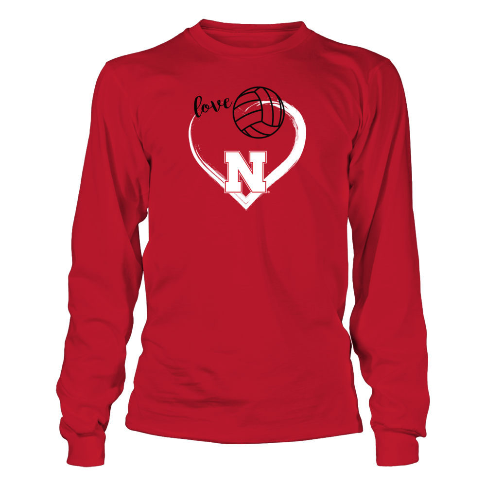 University Nebraska Volleyball Shirts with Heart Front picture
