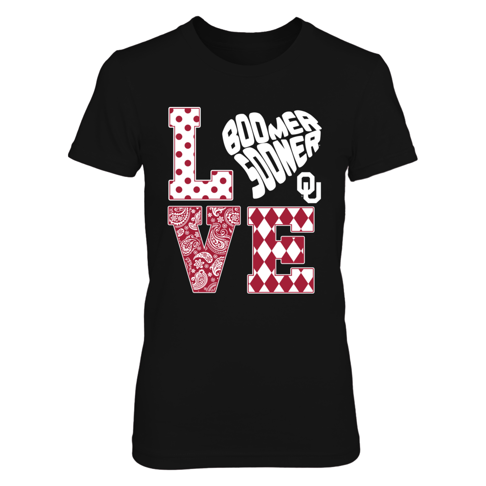 Oklahoma Sooners - Stacked Love - Slogan Heart Shape Front picture