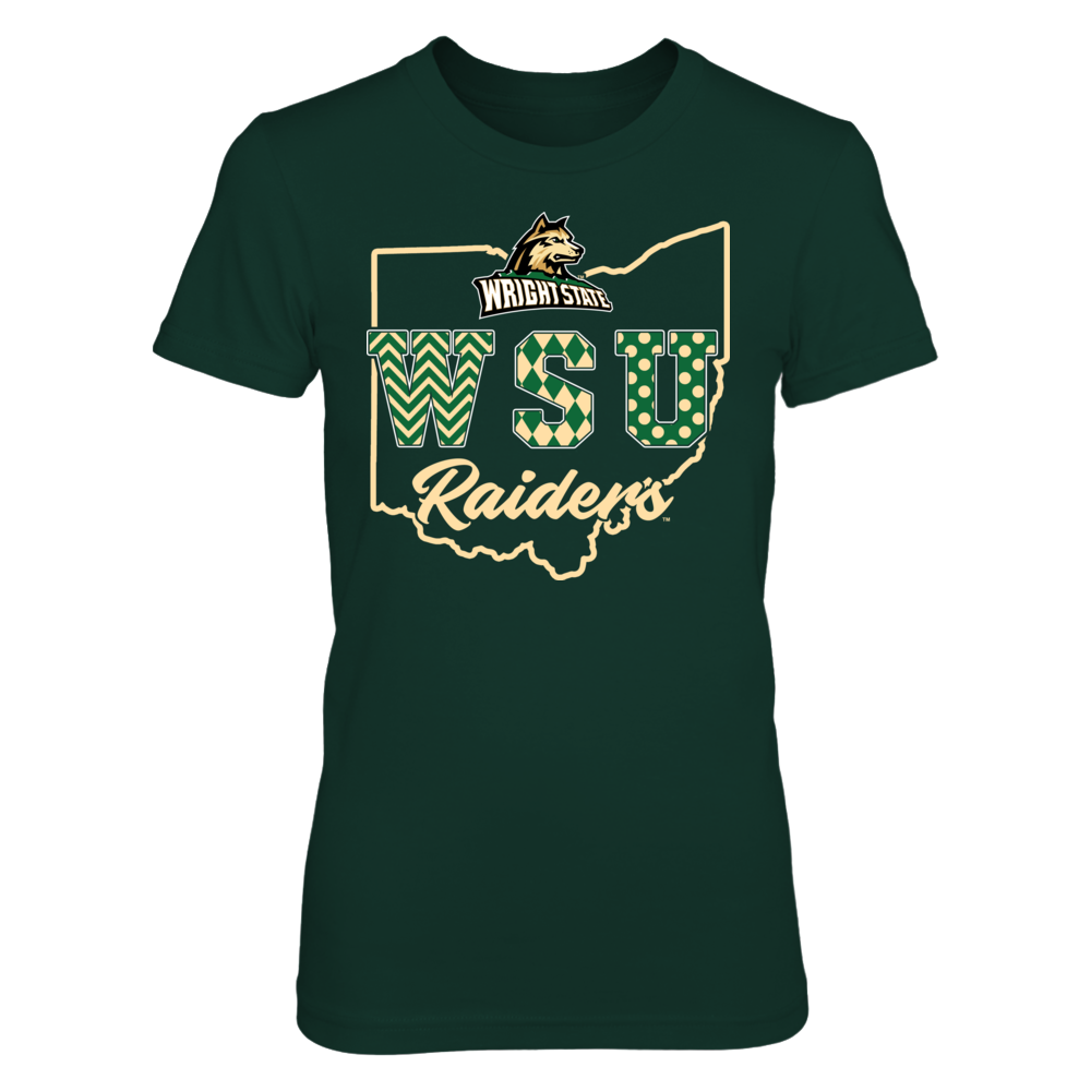 Wright State Raiders - Patterned Letters - State Outline Front picture