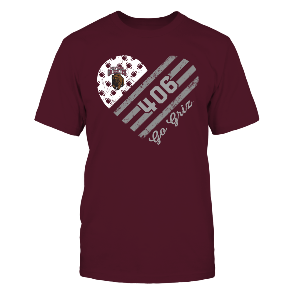 Montana Grizzlies - Football Flag Heart - Area Code Front picture