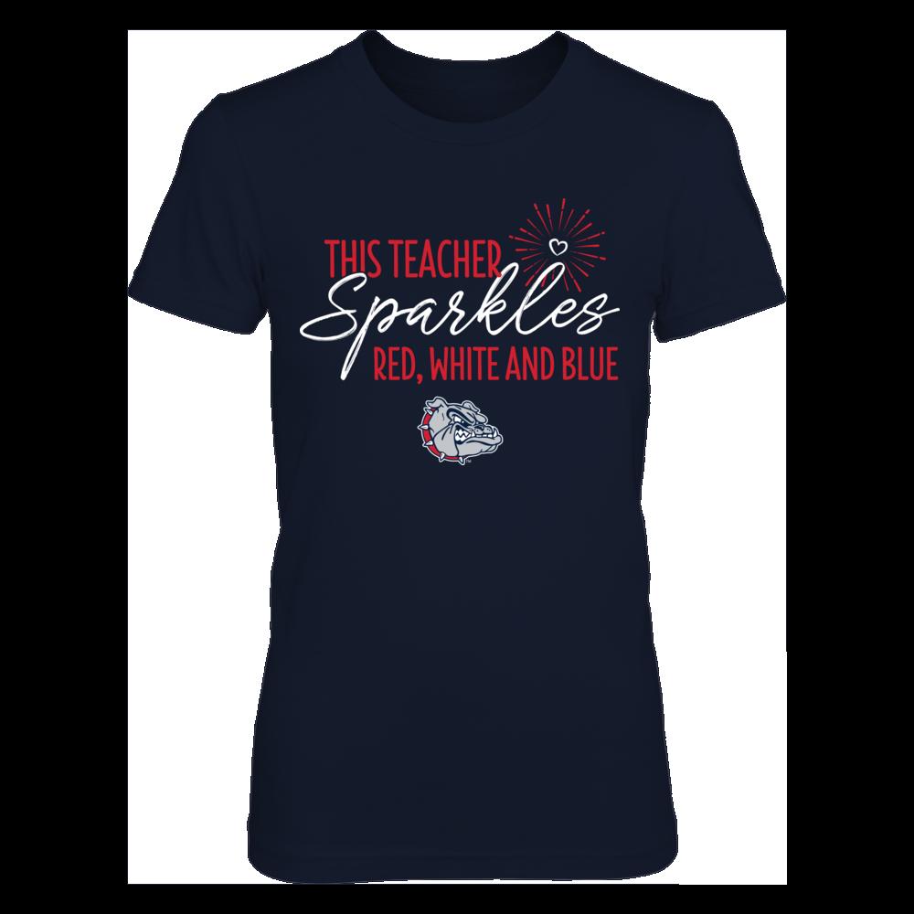 This Teacher Sparkles Gonzaga Bulldogs T-Shirt | T-Shirt Front picture