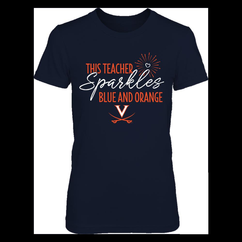 This Teacher Sparkles Virginia Cavaliers Colors T-Shirt | Tank Front picture