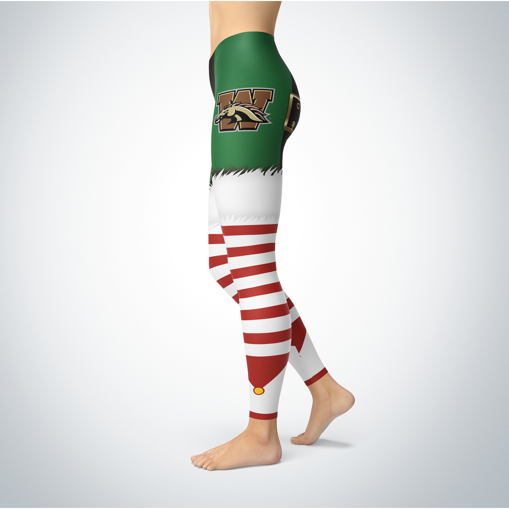 Christmas Elf Western Michigan Broncos Leggings Front picture