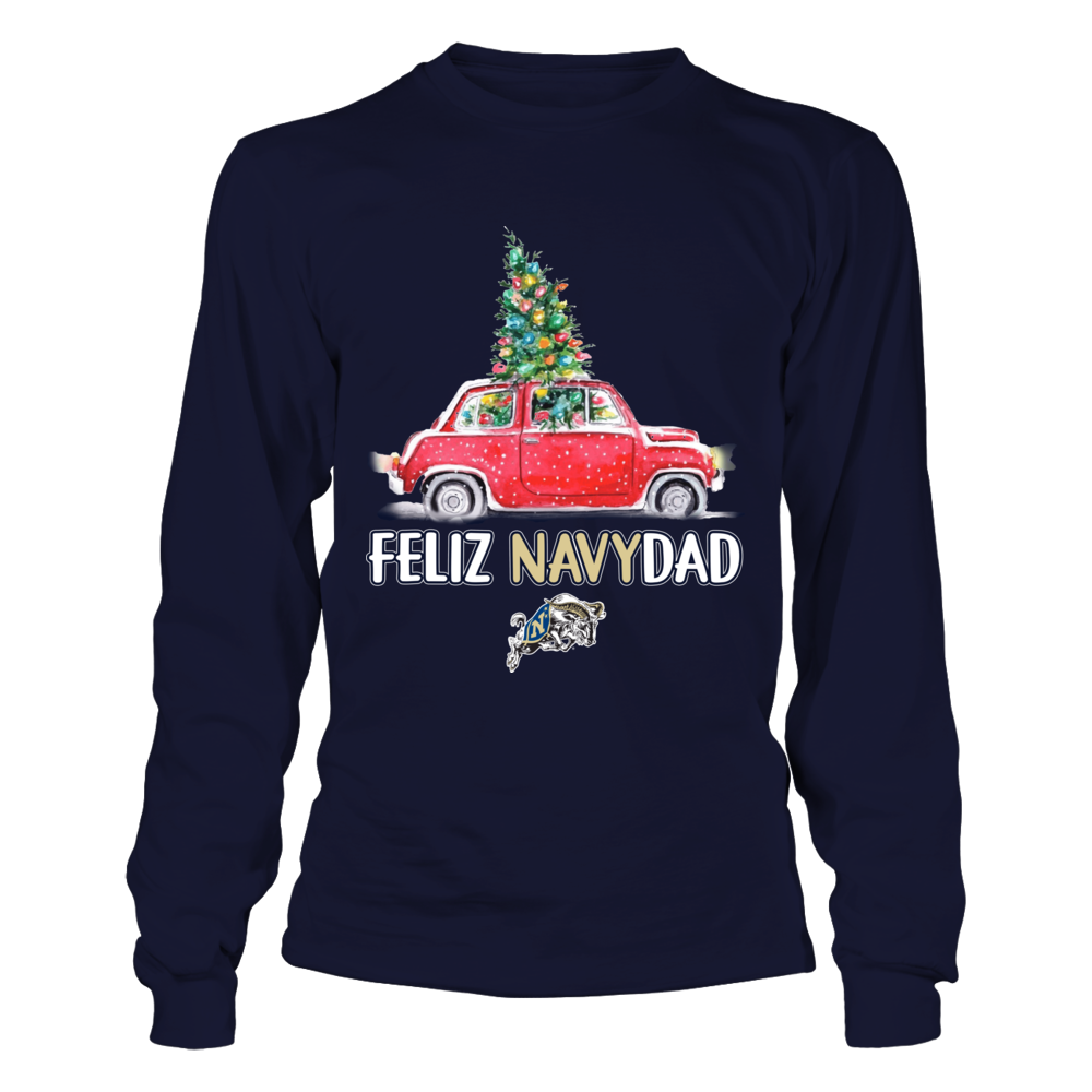 Navy Midshipmen - Feliz Navidad Christmas Truck - Team Slogan Front picture
