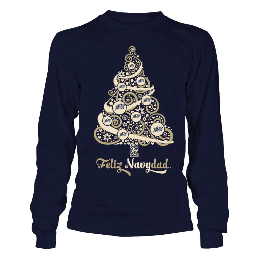 Navy Midshipmen -  Logo Christmas Tree - Feliz Navydad Front picture