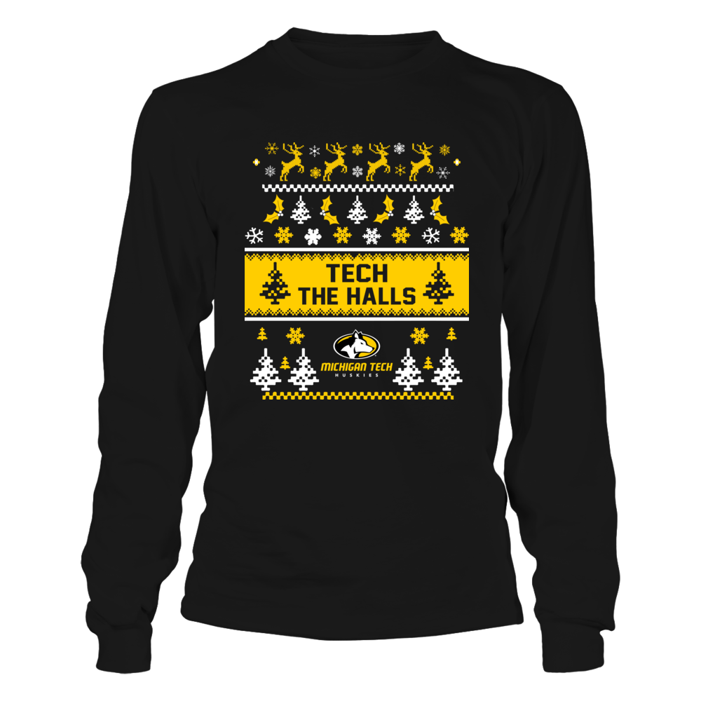 Michigan Tech Huskies - Christmas - Tech The Halls Ugly Sweaters Front picture