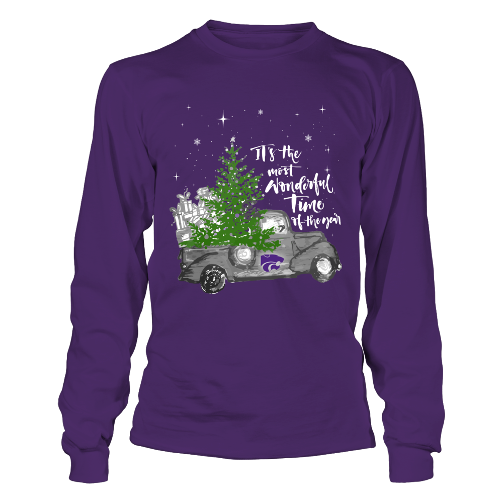 Kansas State Wildcats - Christmas - Most Wonderful Time - Purple Shirt Front picture