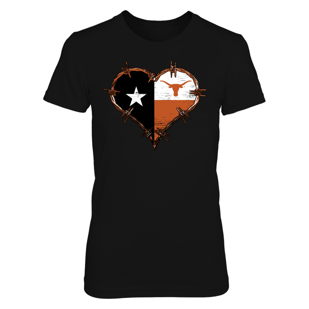 Texas Longhorns - Barbed Wire Texas Flag Heart Front picture