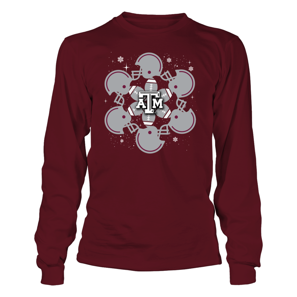 Texas A&M Aggies - Christmas - Football and Helmet Snowflake Front picture