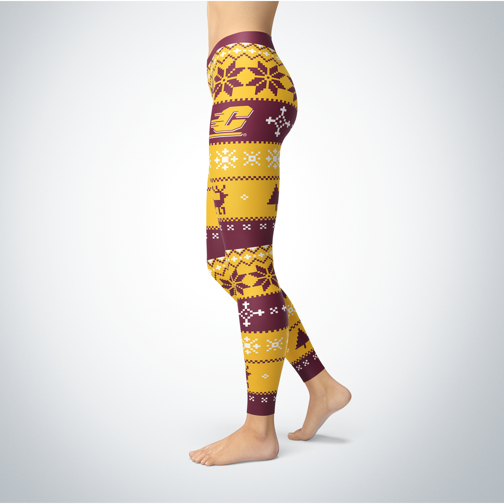 Knitted Christmas Central Michigan Chippewas Leggings Front picture