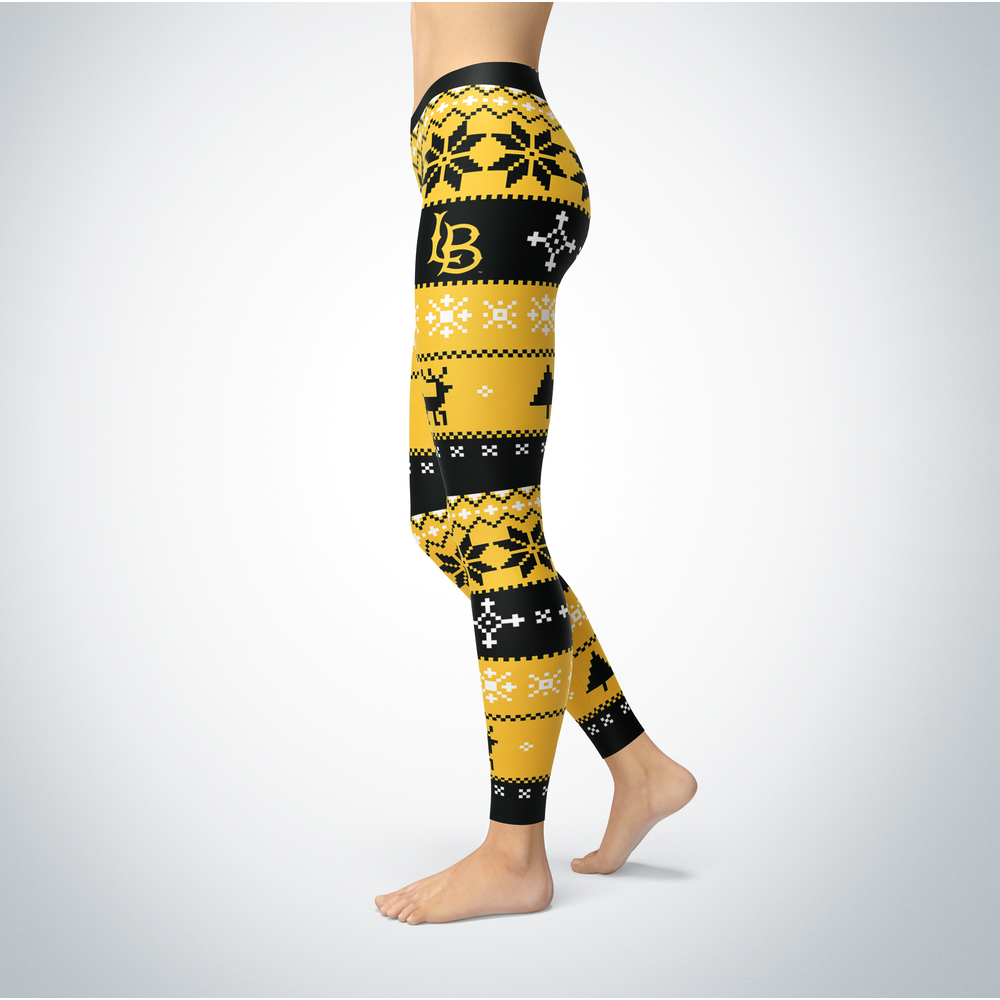 Knitted Christmas Long Beach State 49ers Leggings Front picture