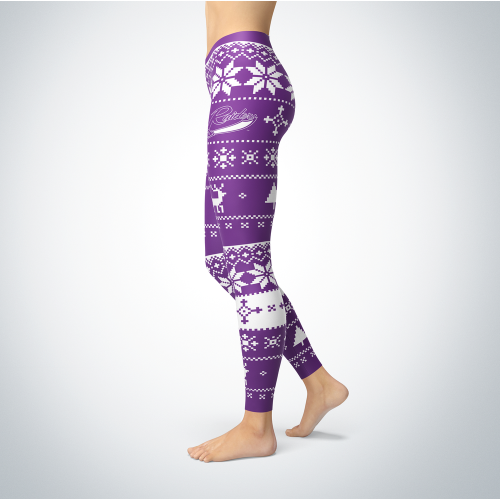 Knitted Christmas Mount Union Raiders Leggings Front picture