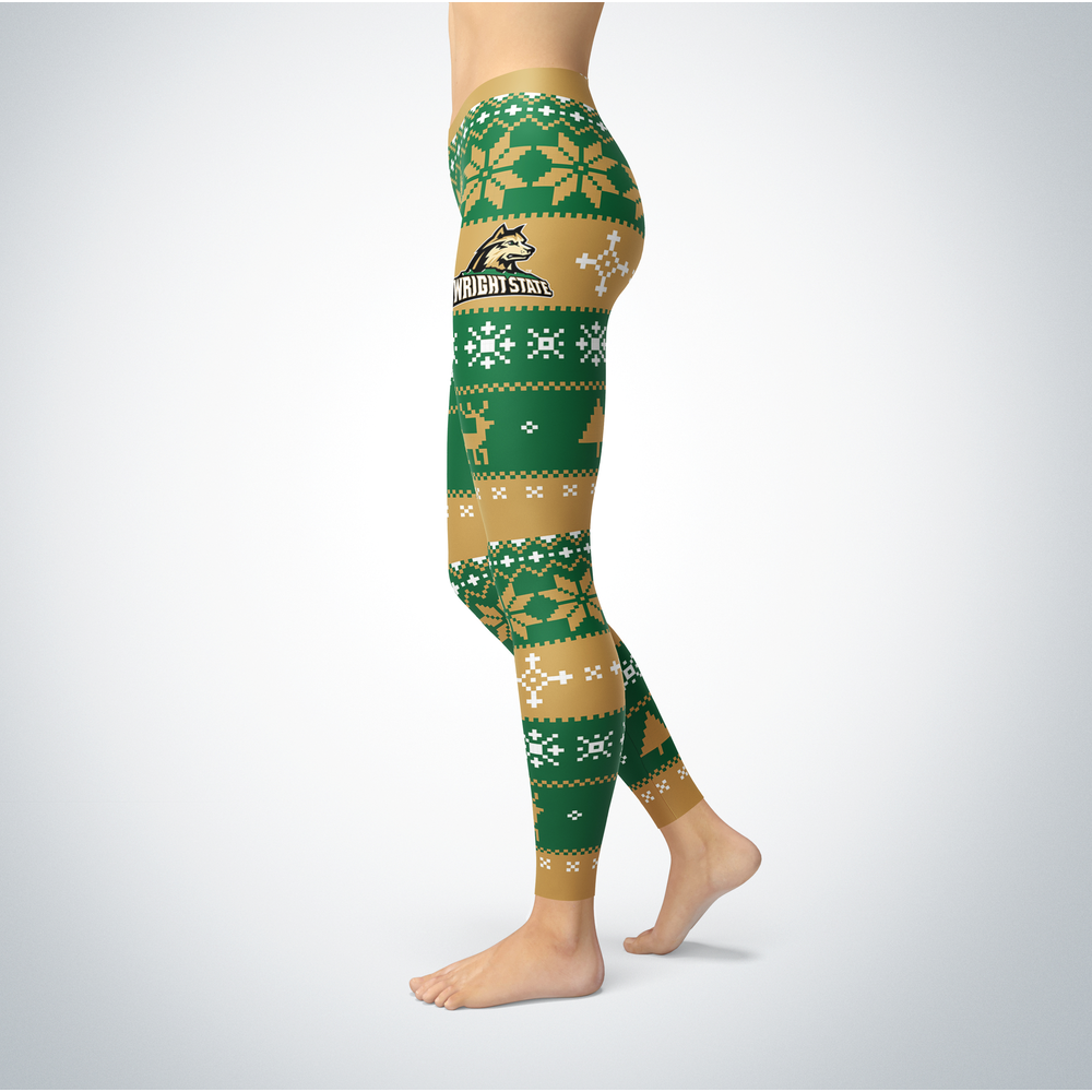 Knitted Christmas Wright State Raiders Leggings Front picture