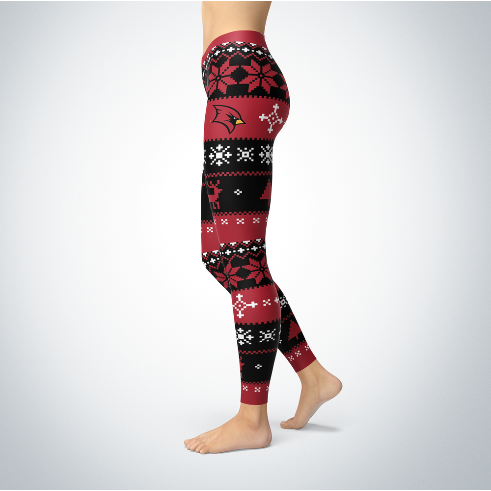 Knitted Christmas Saginaw Valley State Cardinals Leggings Front picture