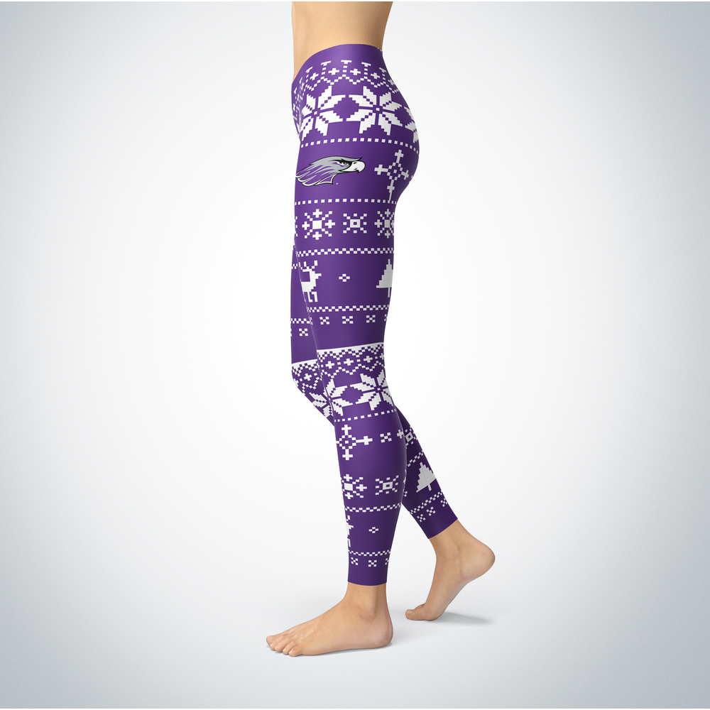 Knitted Christmas -Whitewater Warhawks Leggings Front picture