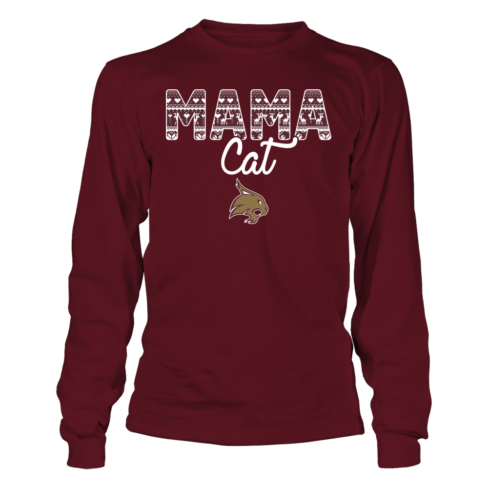 Texas State Bobcats - Mama Animal Christmas Pattern Front picture