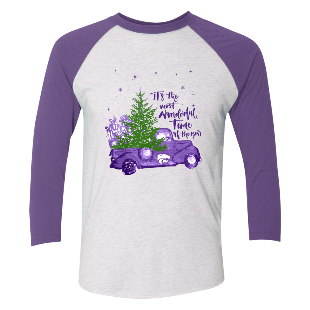 Kansas State Wildcats - Christmas - Most Wonderful Time - Raglan Color Shirt Front picture
