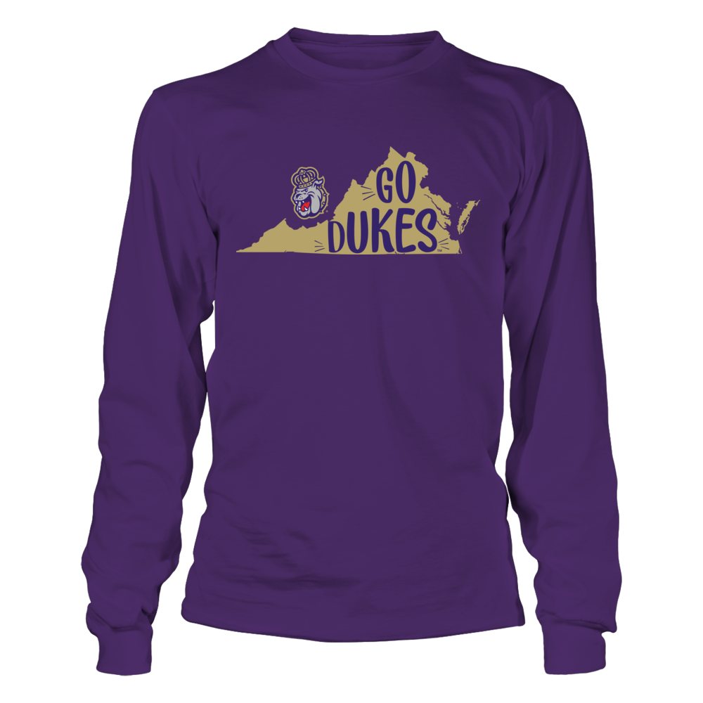 James Madison Dukes - Slogan State Map Front picture
