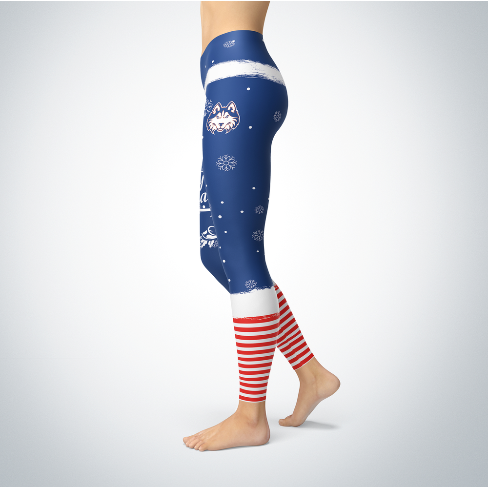 Elf Christmas Houston Baptist Huskies Leggings Front picture