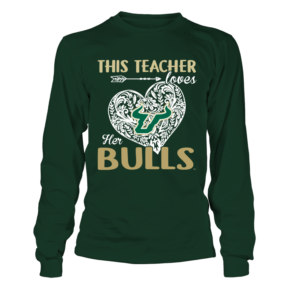 South Florida Bulls - This Teacher Loves Her Team - Pattern Heart Front picture