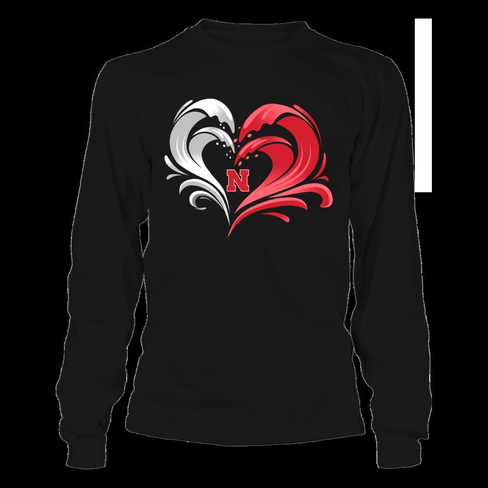 Nebraska Cornhuskers - Floral Wave Heart Front picture