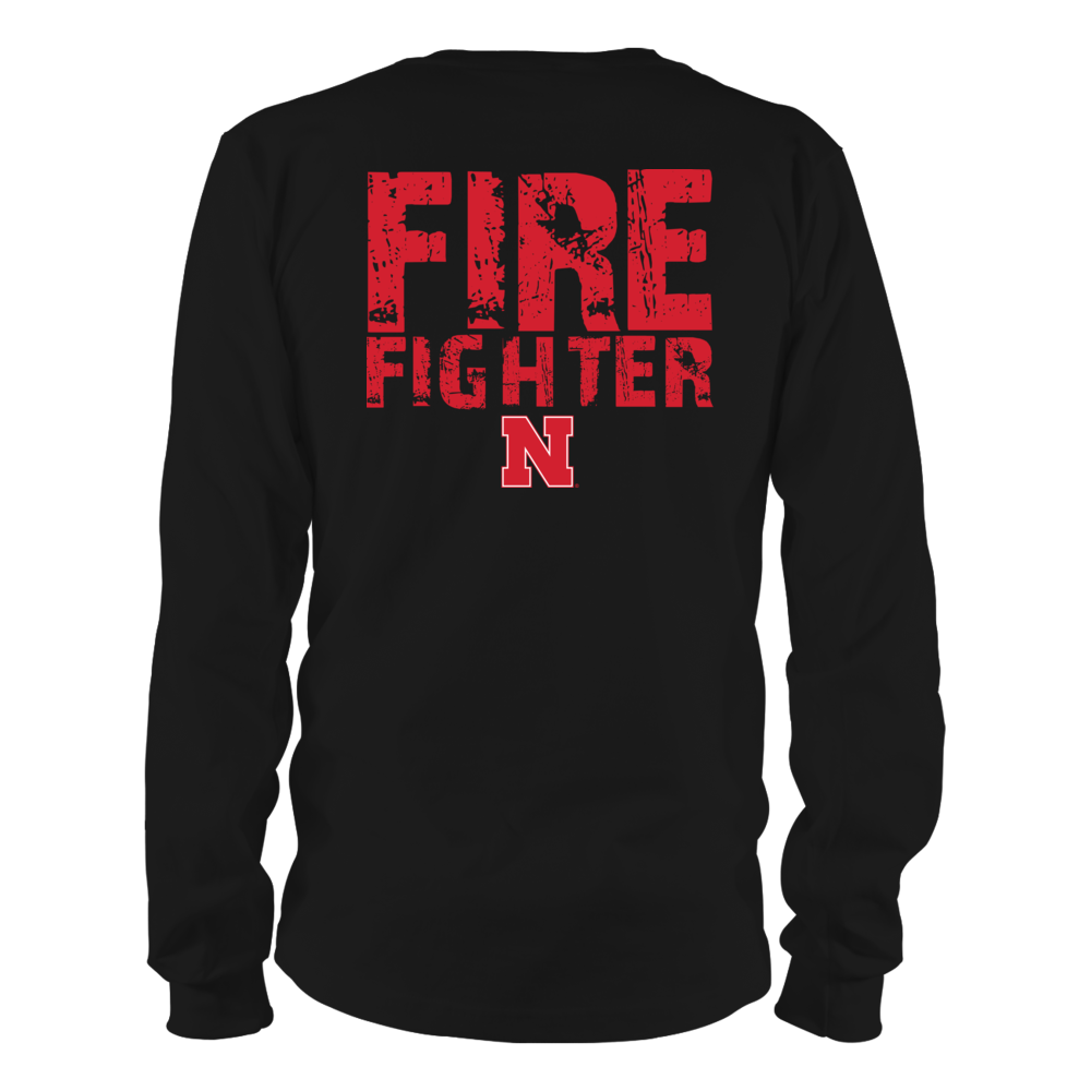 Nebraska Cornhuskers - Firefighter - Distressed Firefighter Slogan Back picture