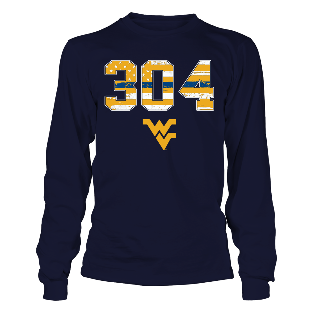 West Virginia Mountaineers - Police - Area Code - Thin Blue Line Flag Front picture