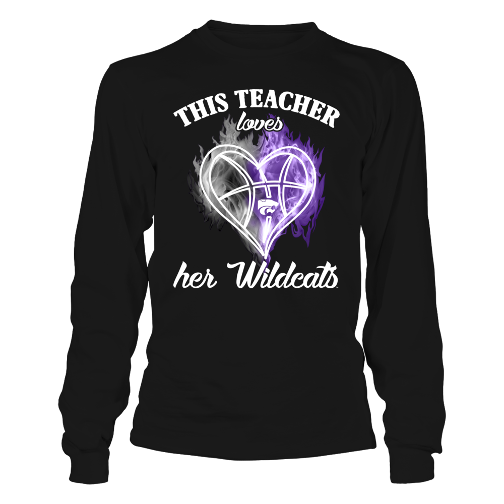 Kansas State Wildcats - This Teacher Loves Her Team Ice Heart Basketball Front picture