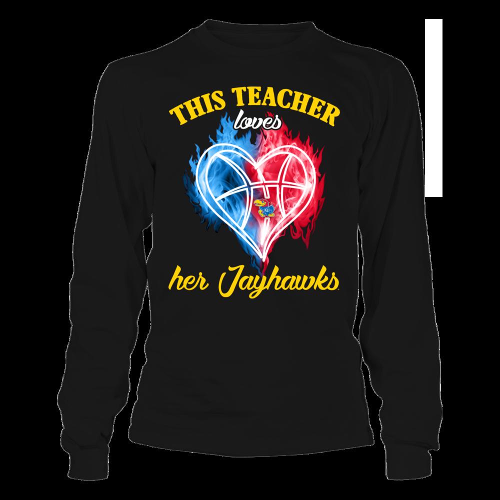 Kansas Jayhawks - This Teacher Loves Her Team Ice Heart Basketball Front picture