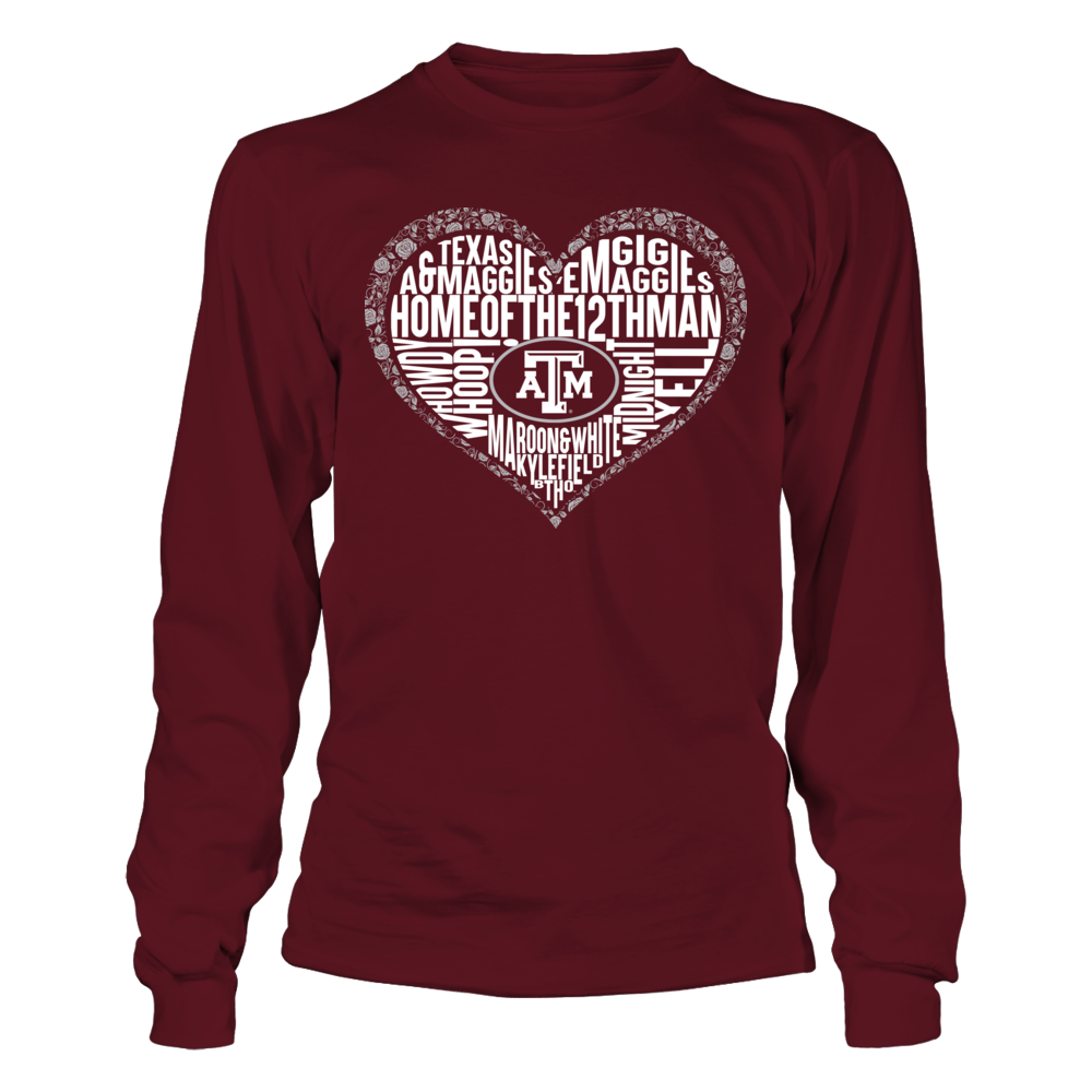 Texas A&M Aggies - Word Cloud Lace Heart Front picture