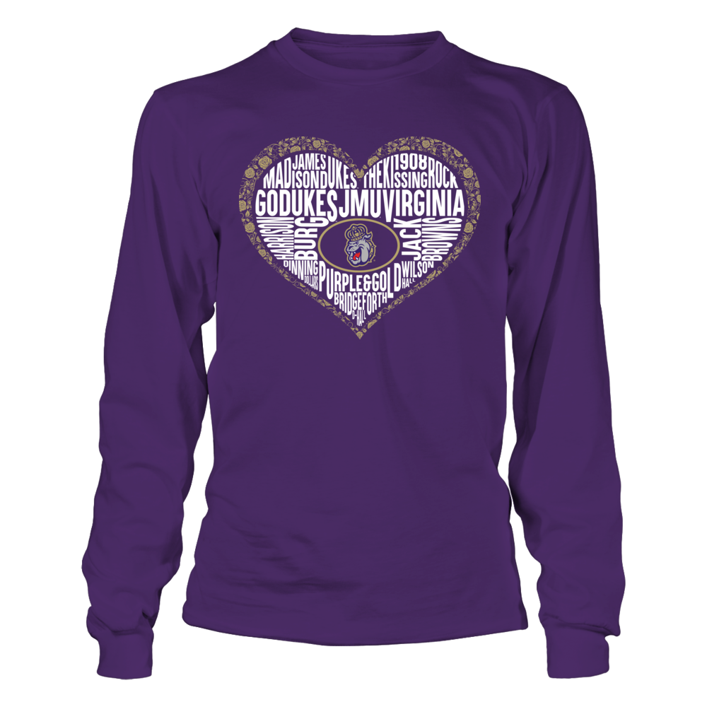 James Madison Dukes - Word Cloud Lace Heart Front picture