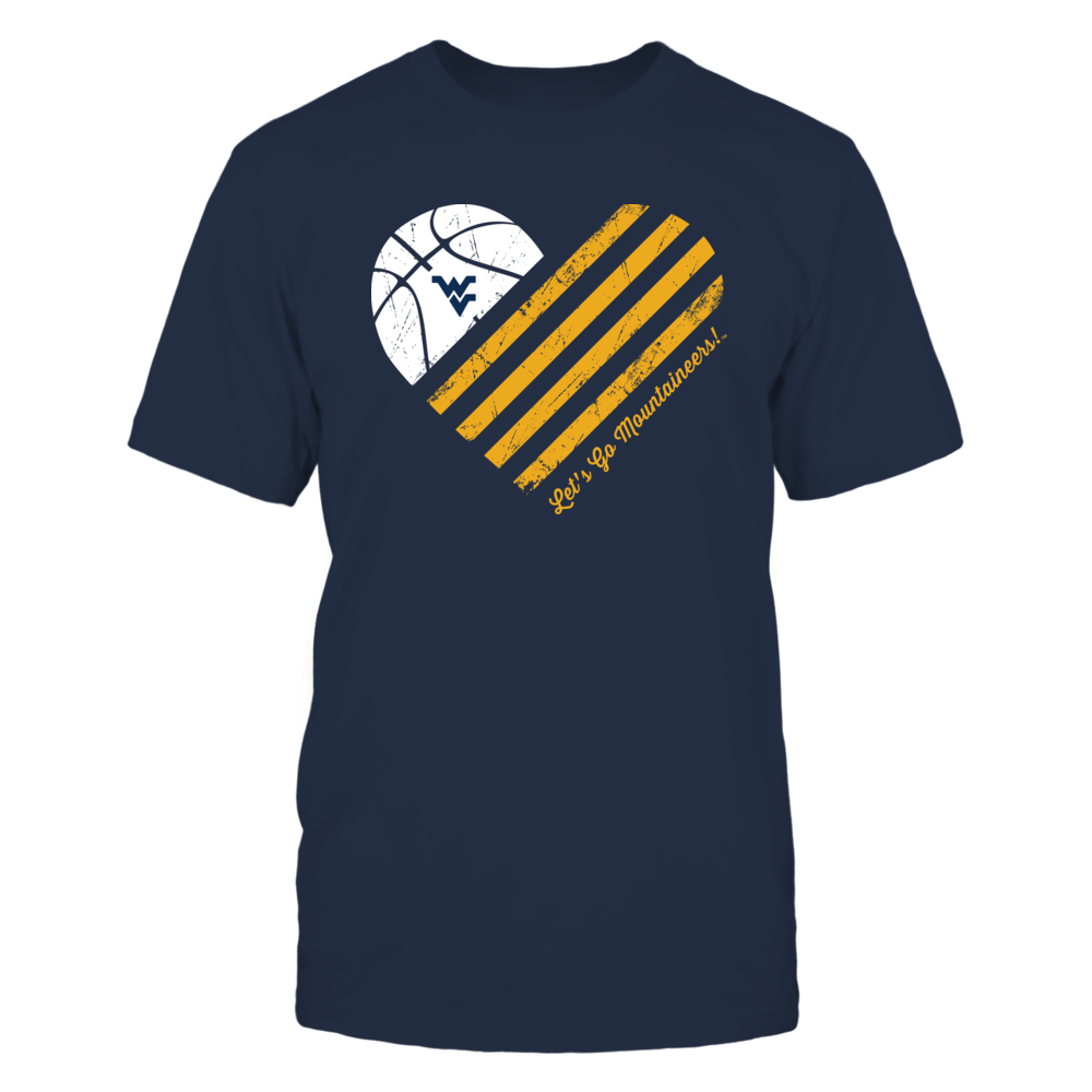 West Virginia Mountaineers - Basketball Flag Heart Front picture