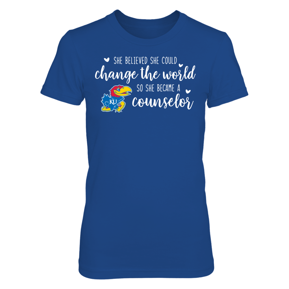 She Believed She Could Change the World Kansas Jayhawks Counselor T-Shirt Front picture