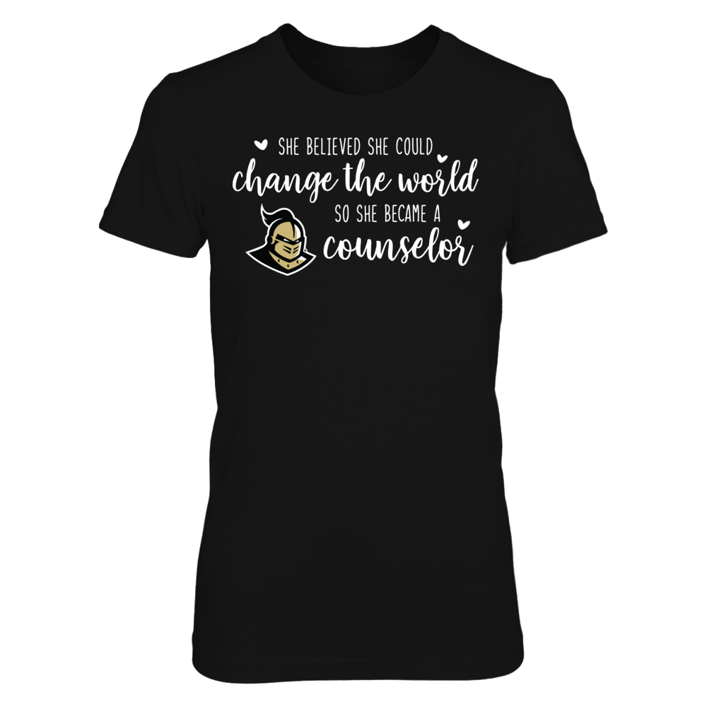 She Believed She Could Change the World UCF Knights Counselor T-Shirt Front picture