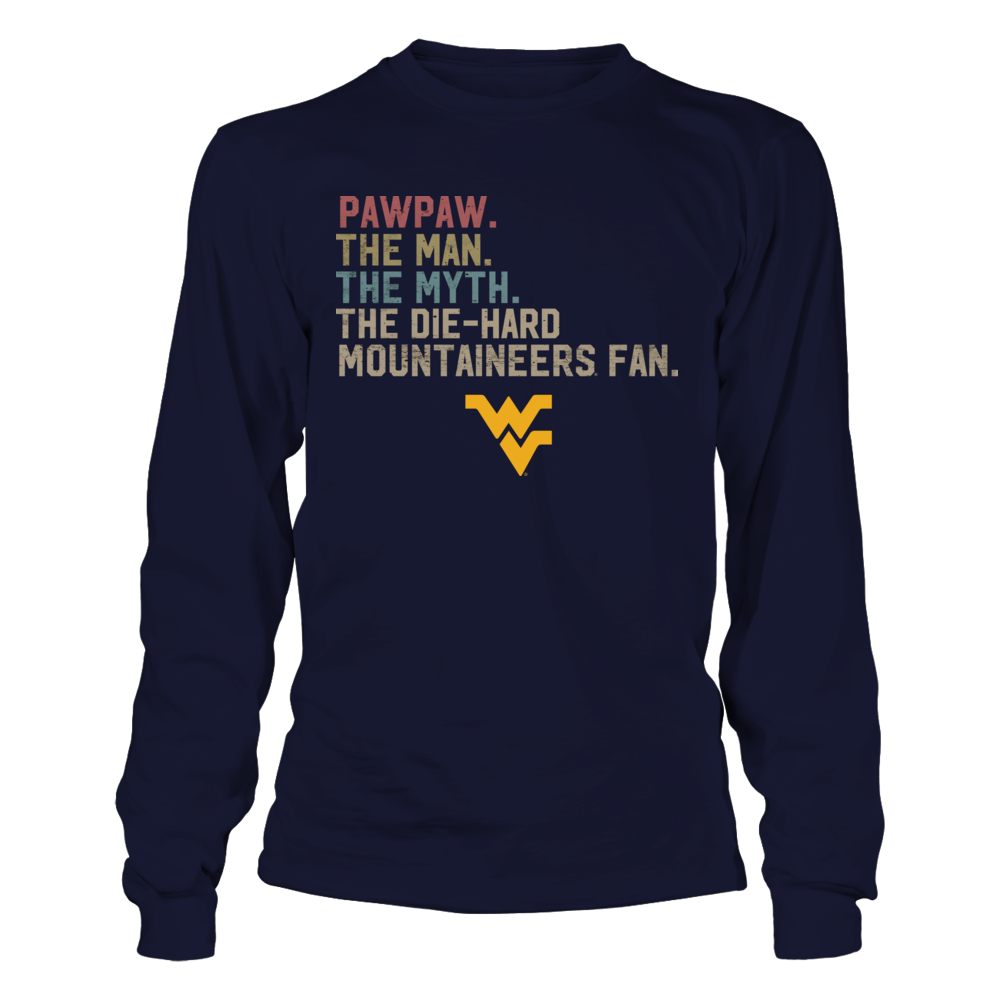 West Virginia Mountaineers - The Man - Myth - Legend - Retro Style - Ver 2 Front picture