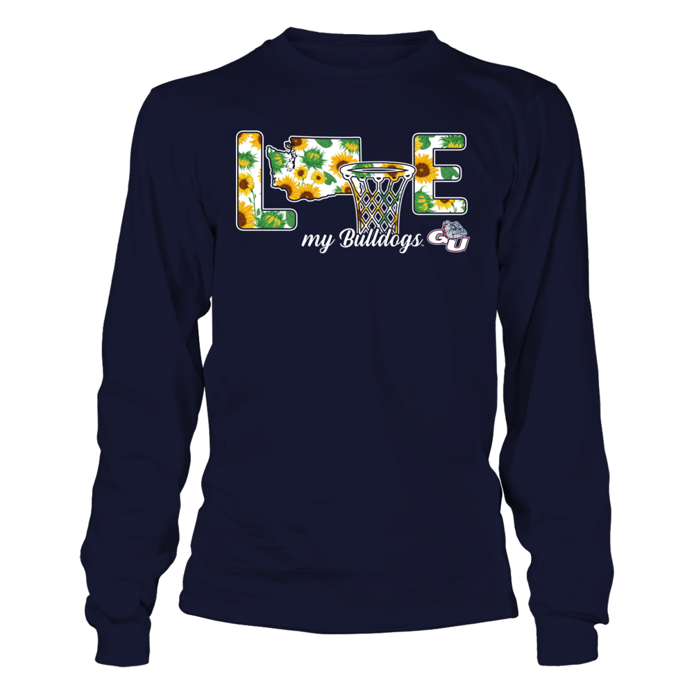 Gonzaga Bulldogs - Love My Team - Basketball - Sunflower Pattern Front picture