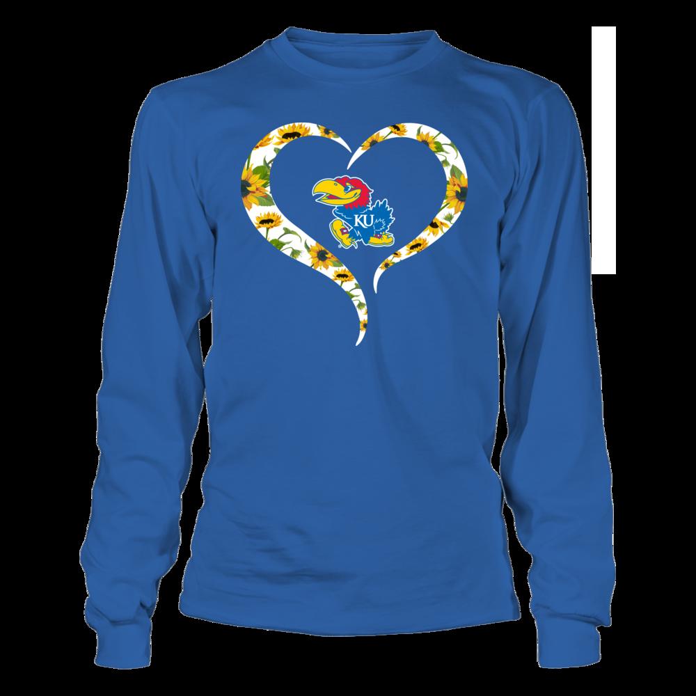 Kansas Jayhawks - Sunflower Pattern Heart Outline Front picture